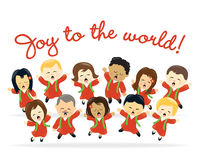 Christmas choir. Diverse people singing and dancing in a choir Stock Image