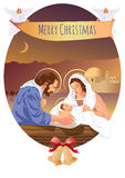 Christmas Christian nativity scene with baby Jesus and angels Royalty Free Stock Images