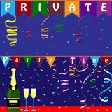 Christmas and Christmas banners with bright confetti, flags and. Serpentine.Private party time banner.Champagne in the background.Vector illustration royalty free illustration