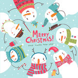 Christmas Christmas card. Round dance of snowmen Royalty Free Stock Photo