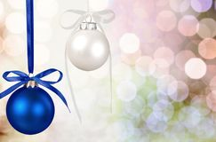 Christmas. Ornament blue decoration  decoration ribbon sphere Royalty Free Stock Photography