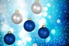 Christmas. Ornament blue decoration  decoration sphere silver Stock Photos