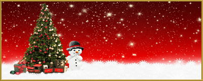 Christmas: Christmas: Christmas tree and snowman, banner, background  Stock Images