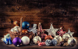Christmas. Christmas decoration. Christmas balls, stars, jingle bells xmas ornaments. Stock Image