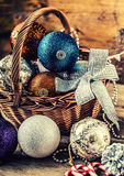 Christmas. Christmas decoration. Christmas balls, stars, jingle bells xmas ornaments. Stock Photos