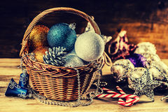 Christmas. Christmas decoration. Christmas balls, stars, jingle bells xmas ornaments. Royalty Free Stock Image