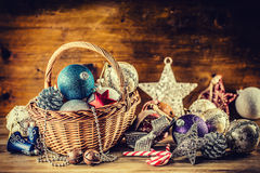 Christmas. Christmas decoration. Christmas balls, stars, jingle bells xmas ornaments. Stock Photo