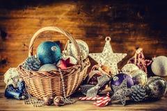 Christmas. Christmas decoration. Christmas balls, stars, jingle bells xmas ornaments. Stock Photo