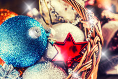 Christmas. Christmas decoration. Christmas balls, stars, jingle bells xmas ornaments. Stock Photography