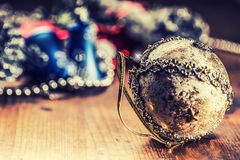 Christmas. Christmas decoration. Christmas balls, stars, jingle bells xmas ornaments. Royalty Free Stock Photos