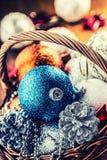 Christmas. Christmas decoration. Christmas balls, stars, jingle bells xmas ornaments. Stock Photography