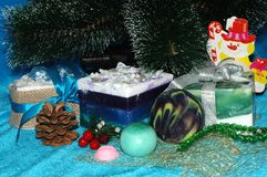 Christmas or Christmas gifts under the tree. Spa natural handmad royalty free stock photography