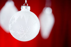 Christmas: Christmas Ornaments On Red Background Royalty Free Stock Photo
