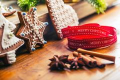 Christmas. Christmas ribbon pastry gingerbread and decoration.  Royalty Free Stock Photography