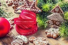 Christmas. Christmas ribbon pastry gingerbread and decoration.  Stock Image