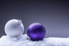 Christmas. Christmas Time.  Luxury Christmas ball in the snow and snowy abstract scenes Royalty Free Stock Photo
