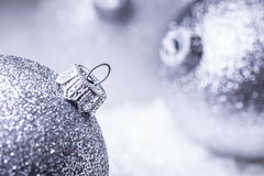 Christmas. Christmas Time.  Luxury Christmas ball in the snow and snowy abstract scenes Stock Photos