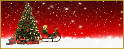 Christmas: Christmas tree and Santa`s sleigh, banner, background Stock Images