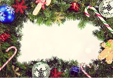 Christmas. Wreath candy cane frame  ornament holiday  border Stock Image