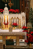 Christmas in the church. Catholic chuch decorated beautifully for Christmas mass Stock Image