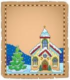 Christmas church building parchment 2 vector illustration