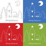Christmas church doodle. Illustration of Christmas church on hill, doodle style Stock Photo