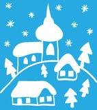 Christmas church and houses, hand - drawn style. Christmas hand - drawn illustration, church and houses Royalty Free Stock Image