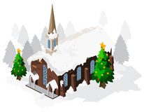 Christmas Church Isometric Stock Images