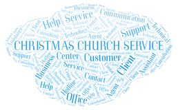 Christmas Church Service word cloud. Wordcloud made with text only stock photo