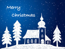 Christmas church with snow at night. Hand drawn illustration Stock Photos