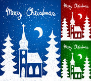 Christmas church and trees, hand - drawn style Stock Image