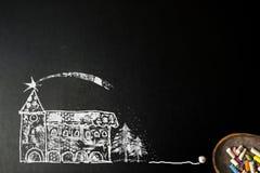 Christmas church whith star of Bethlehem background card. Christmas church background card. Church with star of Bethlehem and fir trees chalk drawing on vector illustration