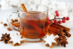Christmas cider. With cinnamon sticks Royalty Free Stock Photography