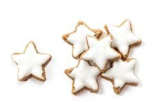 Christmas cinnamon star cookies white background. Typical Christmas cinnamon star cookies on white background stock images