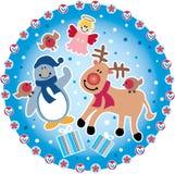 Christmas circle. With christmas characters Royalty Free Stock Image