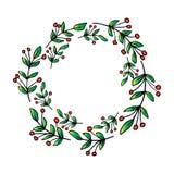 Christmas Circle Borders Wreaths Frames. Hand drawing illustration vector illustration