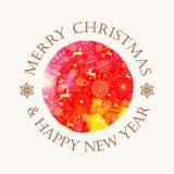 Christmas circle watercolor greeting card Royalty Free Stock Images