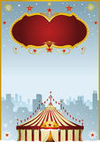 Christmas Circus in the city. A poster with a big top in the city. Its christmas circus Royalty Free Stock Photo