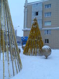 Christmas in the city. Astana, Christmas tree on the square; some decorations for the Christmas celebration Stock Photos