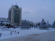 Christmas in the city. Astana, Christmas tree on the square; some decorations for the Christmas celebration Royalty Free Stock Images