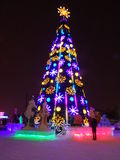 Christmas in the city. Astana, Christmas tree on the square; some decorations for the Christmas celebration Royalty Free Stock Image