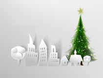 Christmas in City background made of paper Royalty Free Stock Photo
