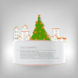 Christmas city background and xmas tree Royalty Free Stock Images