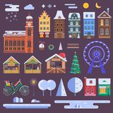 Christmas City Constructor. WInter city constructor set with european christmas houses, festive market objects, Xmas decorations and other details. Europe town Stock Images