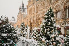 Christmas city decoration royalty free stock images