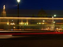 Christmas city 3. Evening pulse festively decorated Lodz Royalty Free Stock Photos