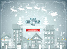Christmas city landscape, urban winter background, vintage card, snowfall Royalty Free Stock Image