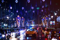 Christmas city lights in Bucharest stock photo