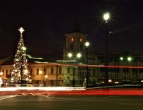 Christmas city Lodz 2. Evening pulse festively decorated Lodz Stock Photography