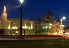 Christmas city Lodz. Polish city. Evening pulse festively decorated Lodz Stock Photo